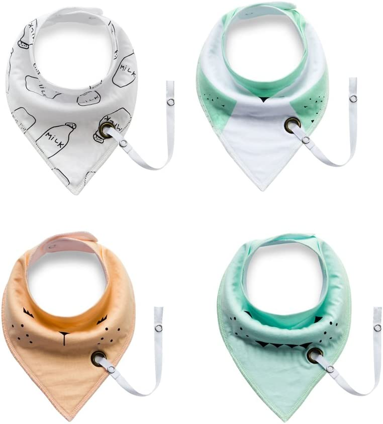 Baby Infant Toddler Cotton Triangle Feeding Bibs Saliva Towel with Pacifier Clip