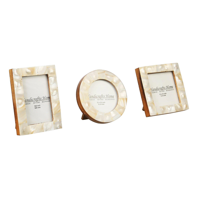 Cornice portafoto Baby Pure Bone & madreperla naturale fatta a mano cornici. Set da 3pezzi, Grey, 2x3'' - 2.5x2.5' -2.5'' 2x3'' - 2.5x2.5' -2.5'' Handicrafts Home