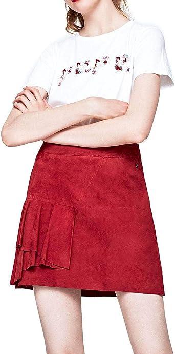 Pepe Jeans Falda Basi Piel Rojo Mujer XL Granate: Amazon.es: Ropa ...