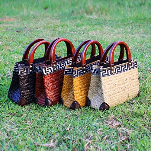 Hechos W3Huang Bag Bolsos Rattan Mango Mano Madera Tailandesa Chino Vacaciones Bolsa Straw VersióN Original Mano Hand Pan Hechos De De De w3huang Packa Retro A Care A tnBq4znY