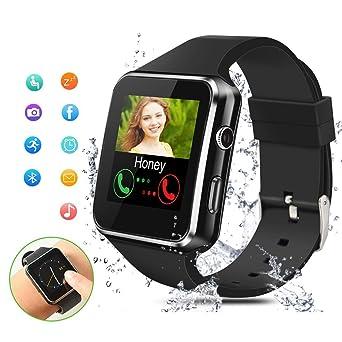 Smartwatch Bluetooth,Reloj Inteligente con Whatsapp Smartwatches con Cámara Pantalla táctil para Tarjeta SIM Smart Watch Telefono Sport Fitness ...