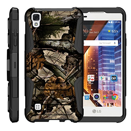 TurtleArmor LG Tribute HD Case LG Volt 3 Case LG X Style Case Octo Guard Dual Layer Case Holster Belt Clip Sturdy Kickstand Cover - Tree Leaves Camouflage