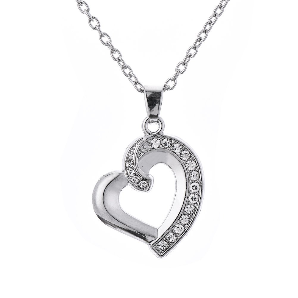 Small Cute Crystal Heart Pendant Love Girlfriend Necklace Qiju