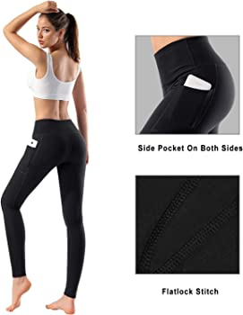 Womens High Waist Yoga Pants with Pockets Tummy Control Workout Running