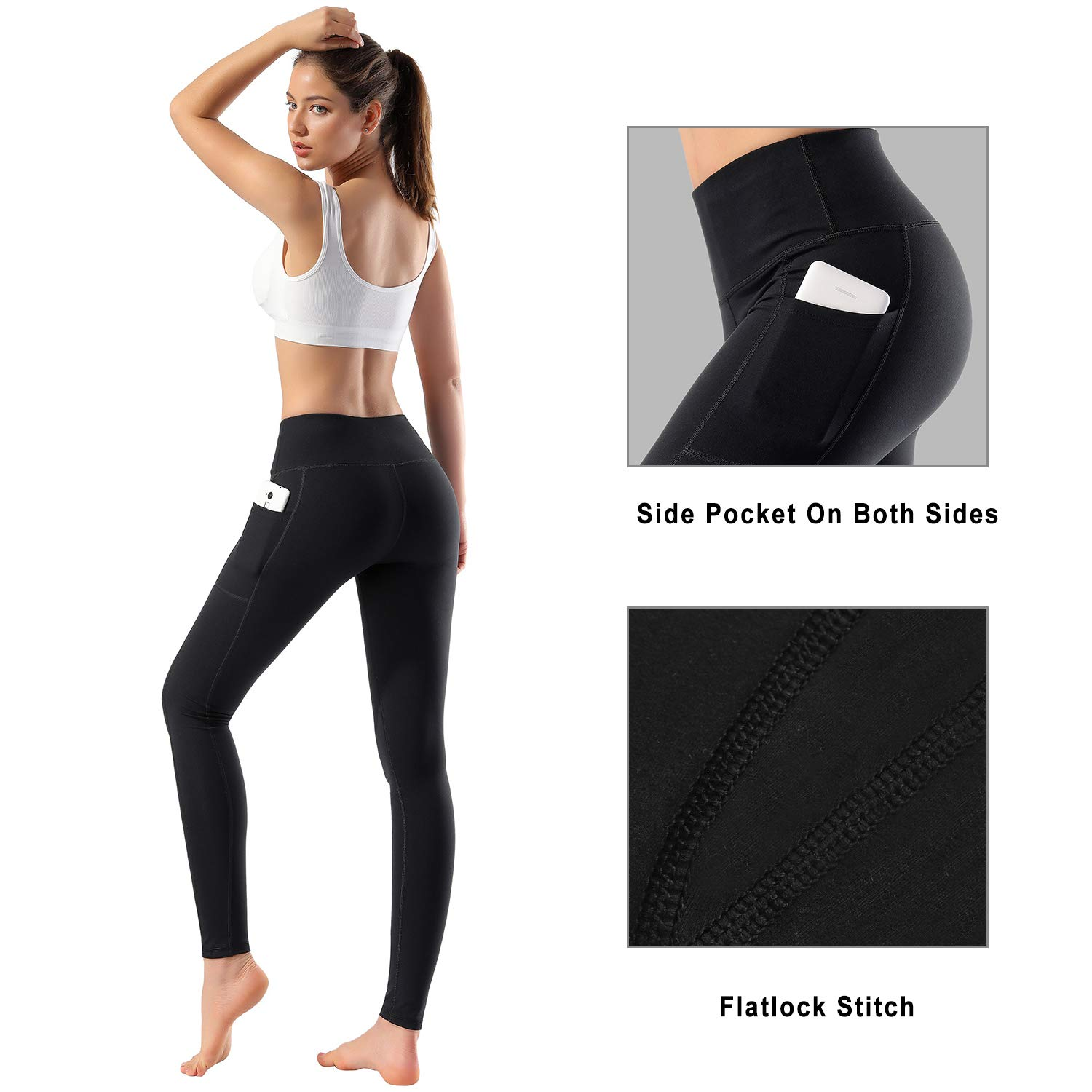 Women's High Waist Yoga Pants with Side Pockets & Inner Pocket Tummy Control Workout Running 4-Way Stretch Sports Leggings, Medium by HOFI (Image #3)
