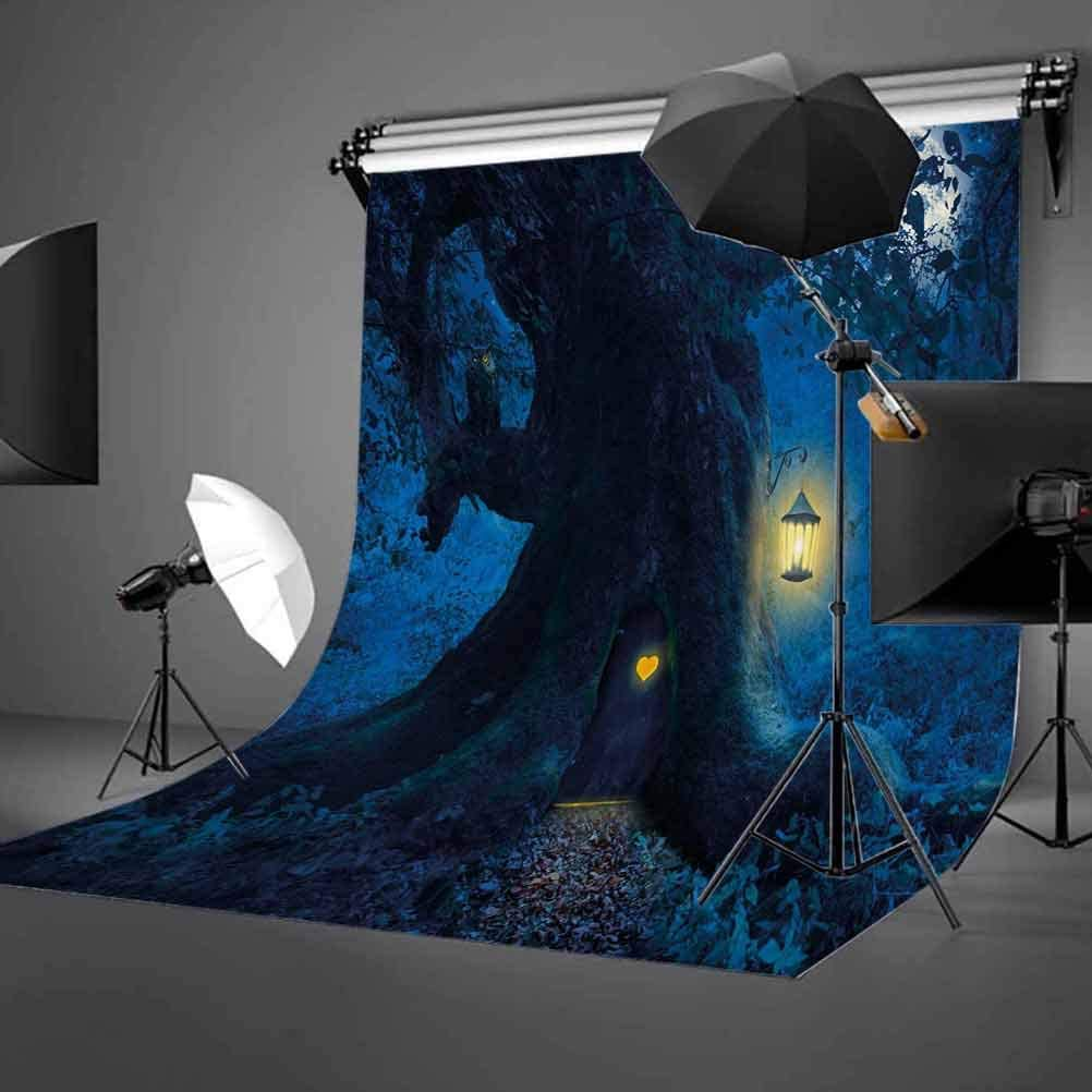 Magical Night with Little Home in Trunk of Ancient Tree Enchanted Forest Fairytale Theme Background for Photography Kids Adult Photo Booth Video Shoot Studio Props 6.5x10 FT Photography Backdrop