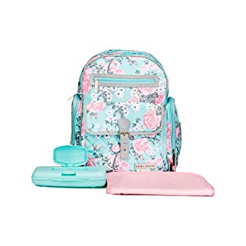 Amazon.com  Laura Ashley 4 in 1 Rose Floral Dome Backpack Diaper Bag Teal   Baby fd257ecab7c9a