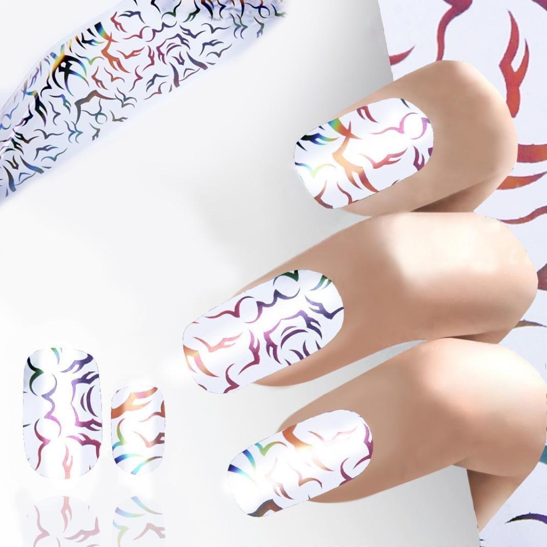 hunpta Design Nail Art Foil Stickers Transfer Decal Tips Manicure (F)