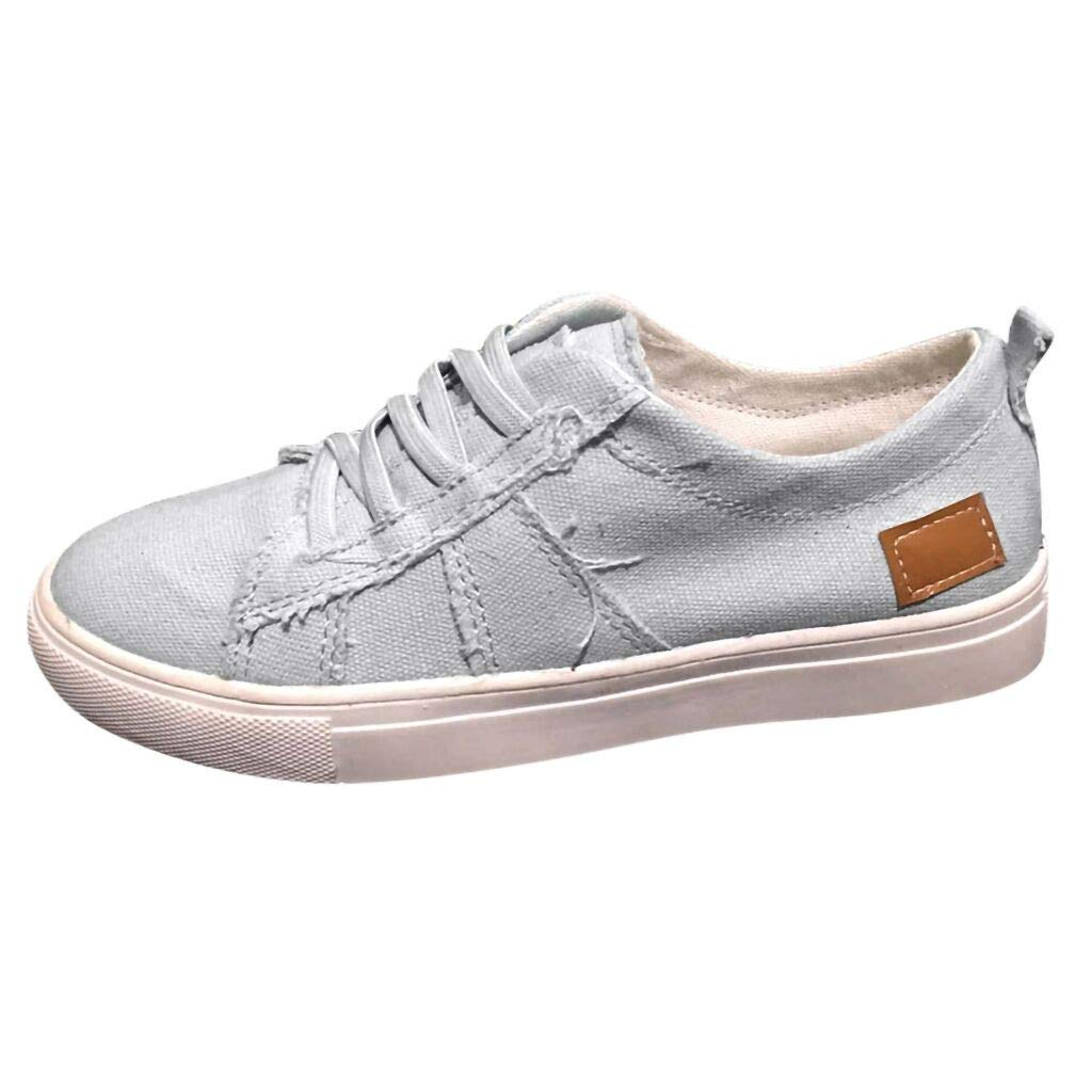 HIRIRI Ladies British Casual Versatile Canvas Shoes with Elastic Band Solid Color Lace-Up Cover Heel Classics Canvas Loafers