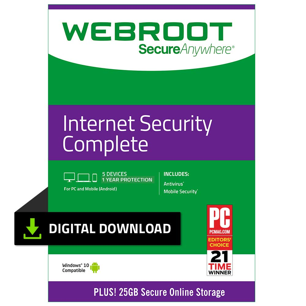 Webroot Internet Security Complete with Antivirus Protection - 2019 Software | 5 Device | 1 Year Subscription | PC Download by Webroot