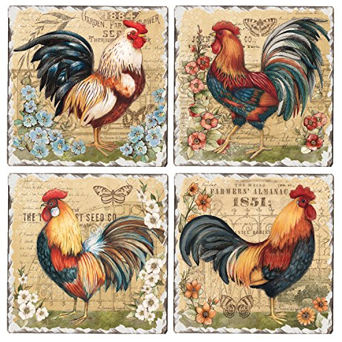 CounterArt Set of 4 Assorted Tumbled Tile Coasters, Roosters and -
