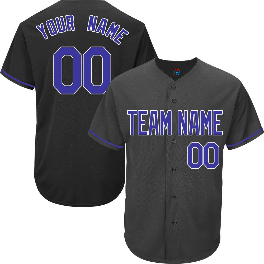 Black Customized Baseball Jersey for Youth Full Button Mesh Embroidered Name & Numbers,Blue-White Size 3XL by Pullonsy