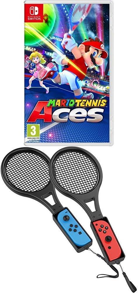 Mario Tennis Aces - Nintendo Switch with Venom Tennis Racket Joy-Con Attachment Twin Pack [Importación inglesa]: Amazon.es: Videojuegos