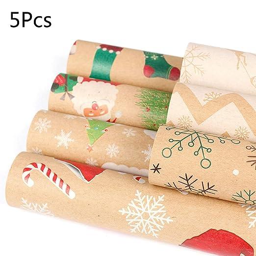 Yuaierchen - 5 rollos de papel de regalo de Navidad, papel ...