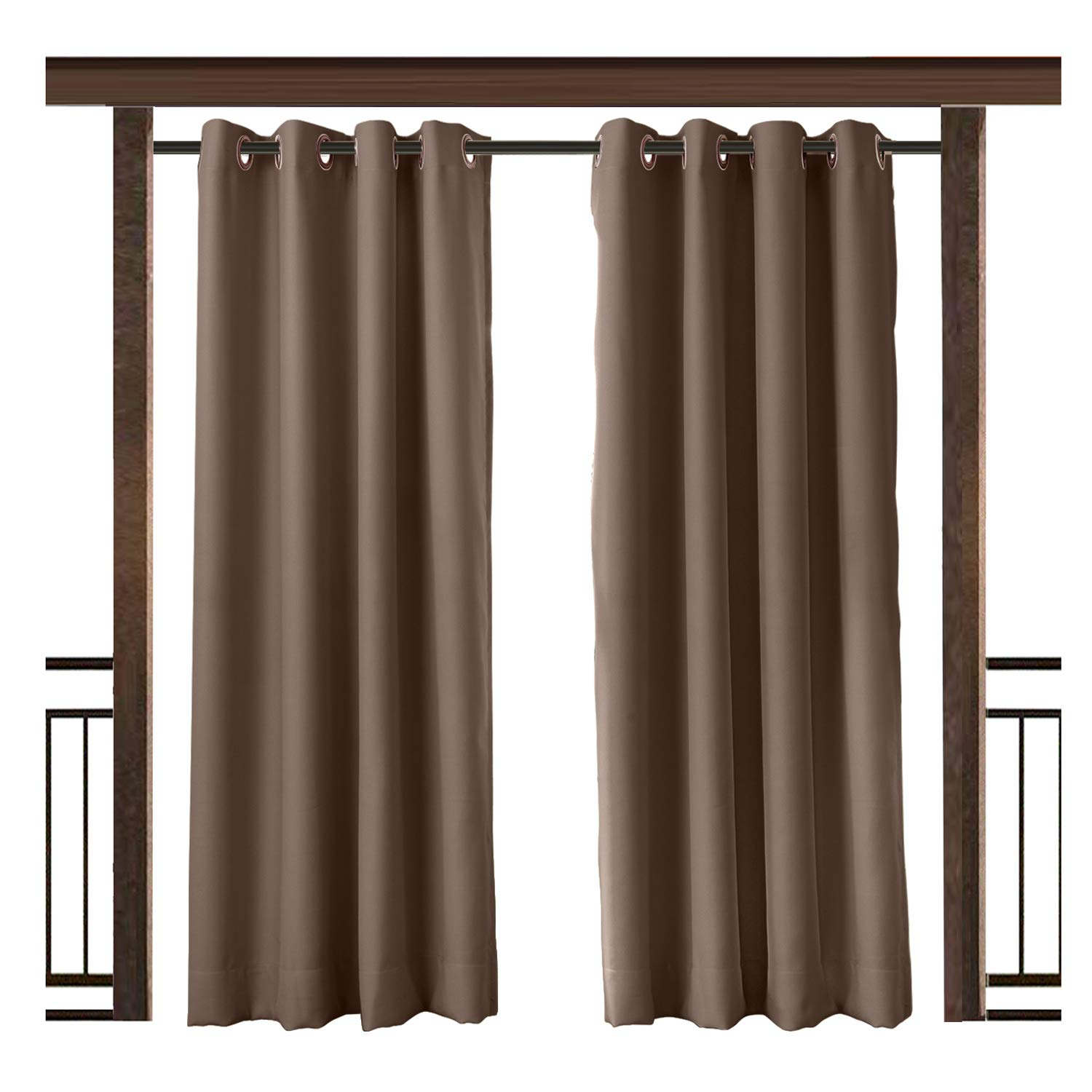 TWOPAGES Outdoor Curtain Waterproof Grommet Drape Chocolate 100 W x 96 L Inch, For Front Porch Pergola Cabana Covered Patio Gazebo Dock Beach Home (1 panel)