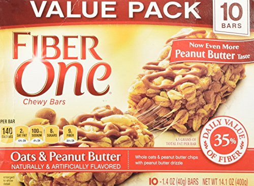Fiber Peanut Butter - Fiber One Chewy Bars, Oats and Peanut Butter, 1 Box (10 Count)