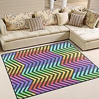 LORVIES Abstract Neon Contrast Rainbow Area Rug Carpet Non-Slip Floor Mat Doormats for Living Room Bedroom 80 x 58 inches