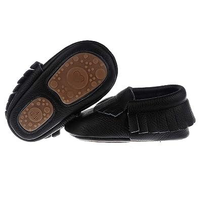 557877f5e5c Pidoli Baby Leather Shoes-Unisex Girls Boys Moccasins Rubber Sole (5 US 8.5M