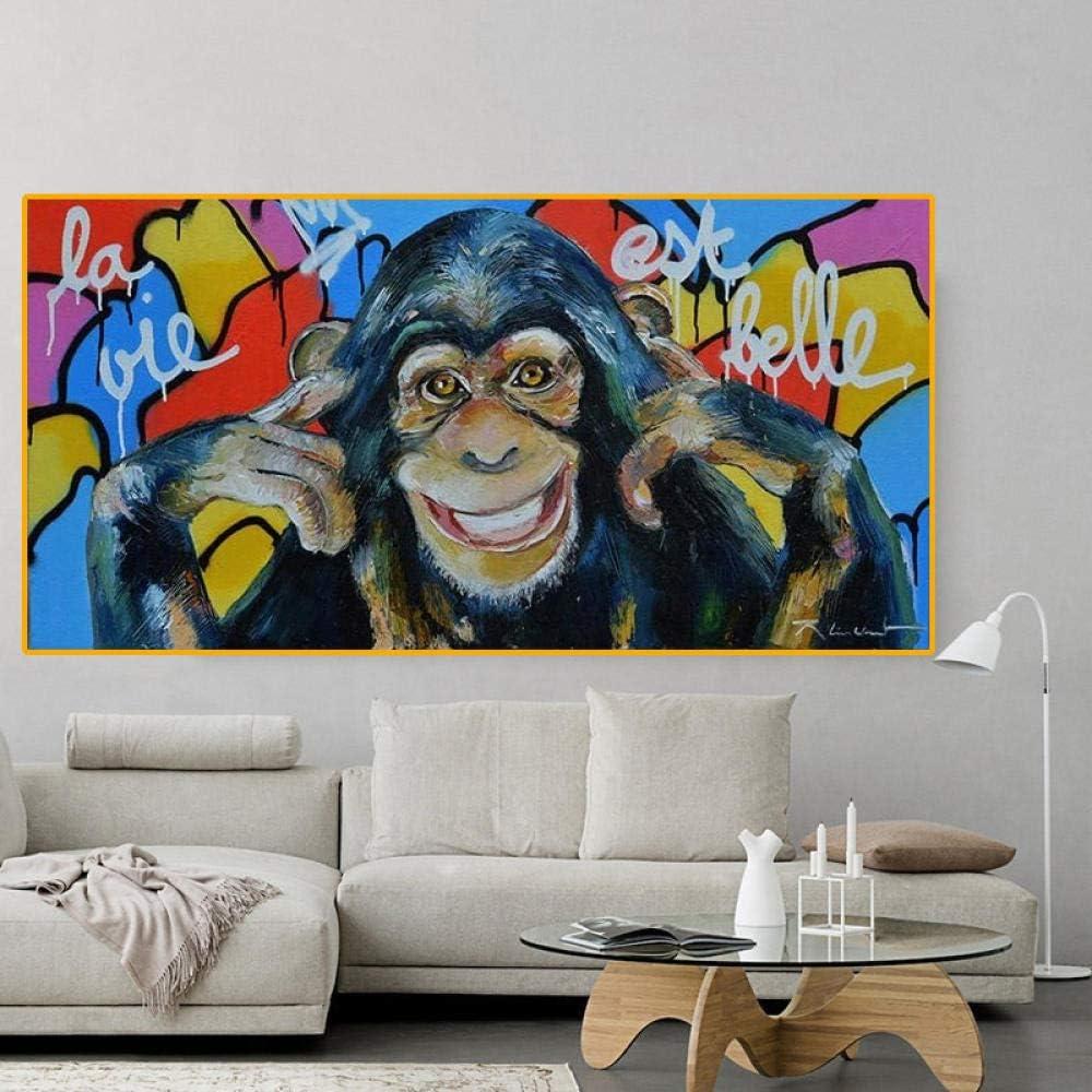 Rudxa Graffiti Funny Monkey Wall Art Impressions sur Toile Abstraite Animaux Pop Art Toile Peinture Mur D/écor Image pour Chambre denfants-50x100 cm sans Cadre