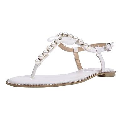 79ab857901058 SheSole Womens White Flat Sandals Rhinestone Summer Beach Wedding Shoes for  Bridal