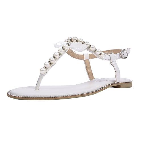 SheSole Women s Pearl T-Strap Bridal White Flat Sandals Beach Wedding Shoes  US Size 6 1c2b11f7d810