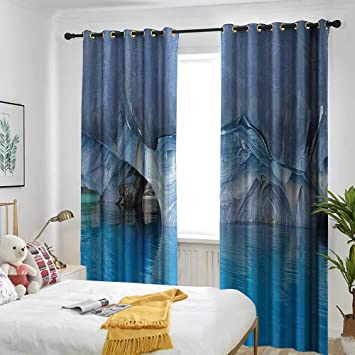 Amazon.com: one1love Blue Curtains for Bedroom Marble Cave General ...