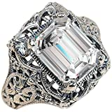 TVS-JEWELS Emerald Cut Elegant Design White CZ 925 Silver Platinum Plated Women's Solitaire Ring (11)
