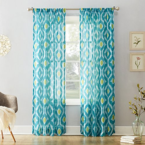No. 918 Maddox Ikat Crushed Sheer Voile Curtain Panel, 50