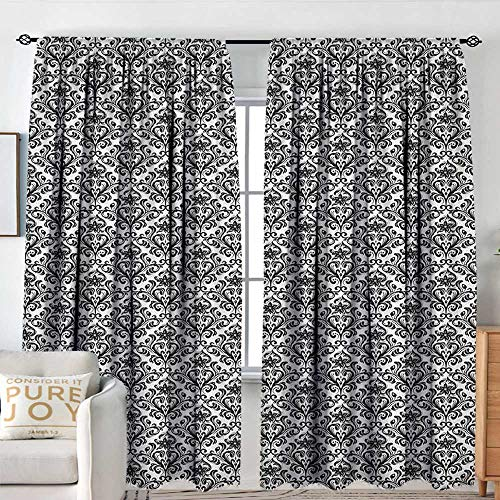 Petpany Blackout Curtains Damask,Flower Arrangement with Antique Leaf Motifs Monochrome Surreal and Dotted Art Style, Black White,Rod Pocket Curtain Panels for Bedroom & Kitchen 60