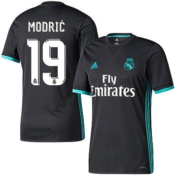 Camiseta visitante del Real Madrid, nº 19, Luca Modric, temporada 2017, 2018, hombre, negro, XXXL: Amazon.es: Deportes y aire libre