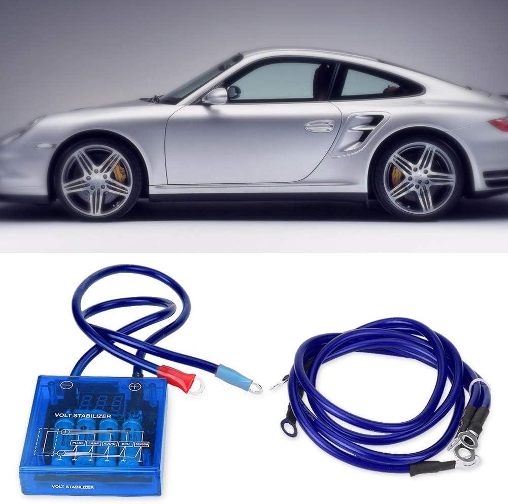 Voltage Regulator-Universal Fuel Saver Voltage Stabilizer Regulator Kit W// 3 Earth Ground Cables Blue