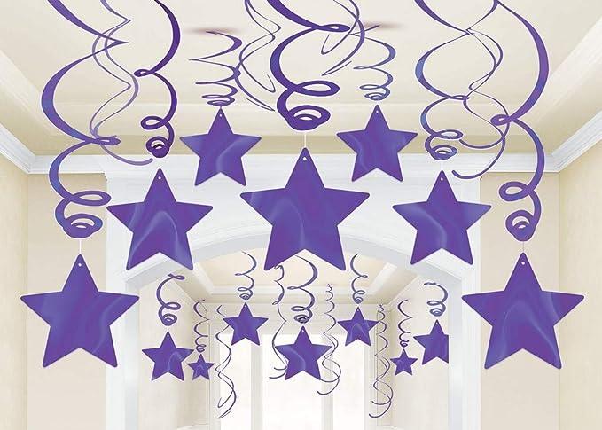 15/'/' PURPLE STARBURST ORNAMENT HANGING PURPLE STAR DECORATION STARBURSTS 15/'/'