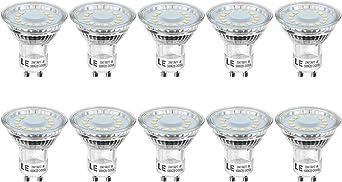 50W Halogen Bulb Equivalent Daylight White 5000K 120 Degree Beam Pack of 10 Units LED Light Bulbs 350lm Glass LE 4W GU10 LED Bulbs