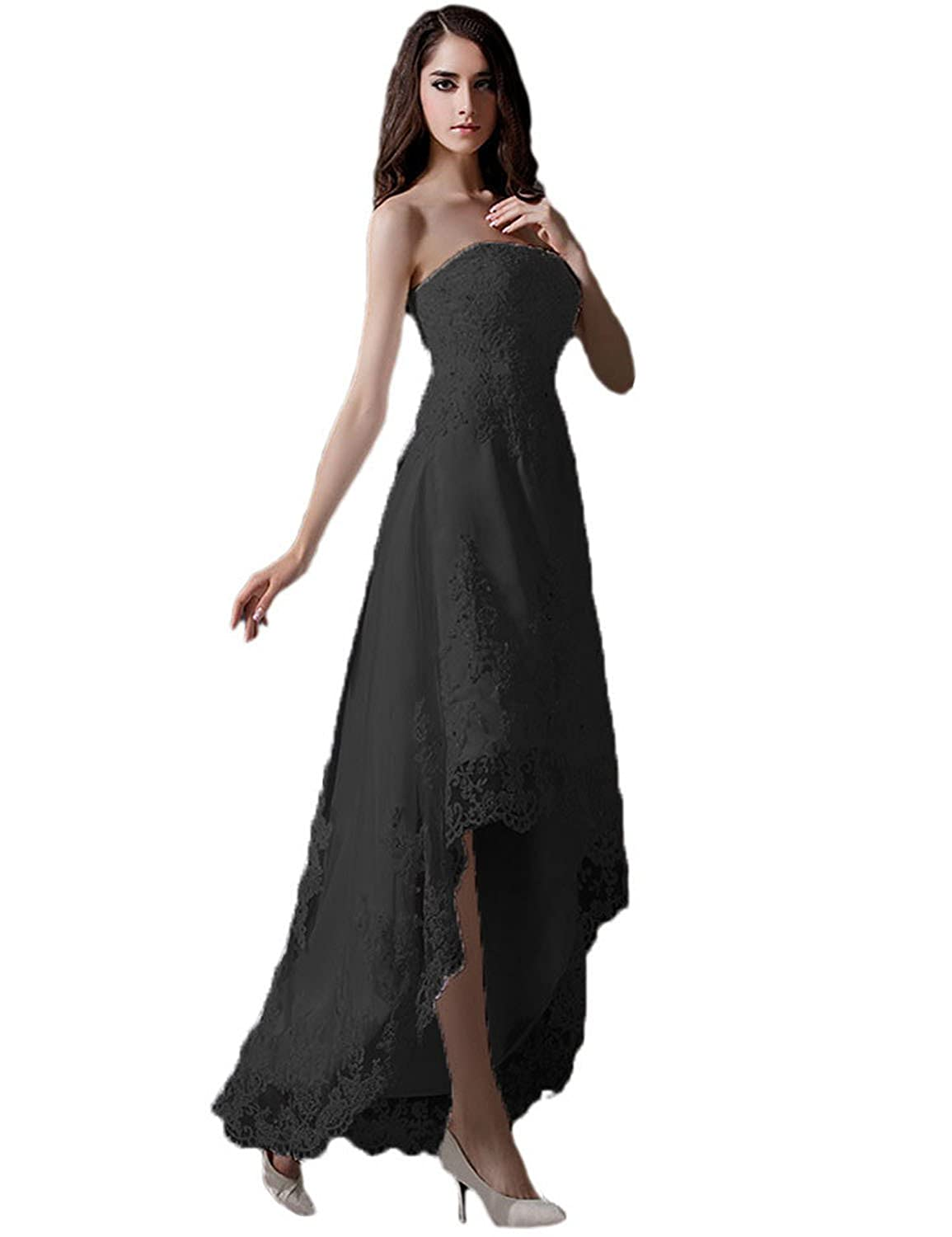 Black Vimans Women's 2019 High Low Strapless Beaded Lace Evening Party Dresses