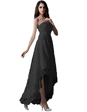 3319d9e4339 Long Beading Prom Dresses 2019 Strapless Evening Party Gown Lace Size 2  Black