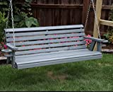 Amish Heavy Duty 800 Lb Roll Back 5ft Porch Swing With Cupholders – MADE IN USA (GREY)