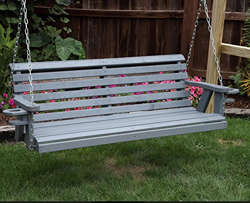 Amish Heavy Duty 800 Lb Roll Back 5ft Porch Swing With Cupholders - MADE IN USA (GREY)