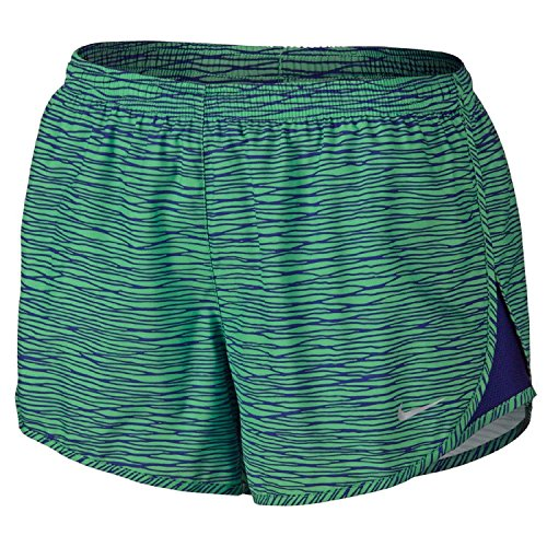 Nike Women's Dri-Fit Equilibrium Modern Tempo Running Shorts-Green/Blue-Small