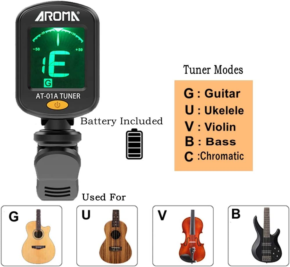 Violin Guitar MOREYES Tuner Clip on Chromatic 01 Tuner and black capo Bass Ukulele Include Guitar Capo and Picks and Holder