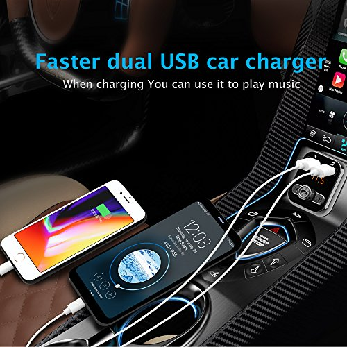 Bluetooth FM Transmitter, WPWPOO Bluetooth Car Adapter, Wireless in-car Bluetooth Receiver MP3 Player Stereo Radio Adapter car kit, Dual USB Interface and iPhone Speakerphone Samsung Smartphone