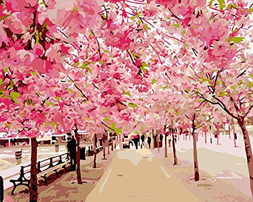 FramedPBN Paint By Number Kits RomanticSakura 13.4