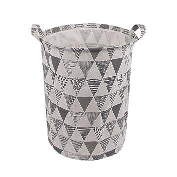 QUICKLYLY Cesto para Guardar Ropa Sucia Plegable con Forro Impermeable,Algodón, Lona Forma de Cubo CilíNdrico con Asa (B): Amazon.es: Hogar