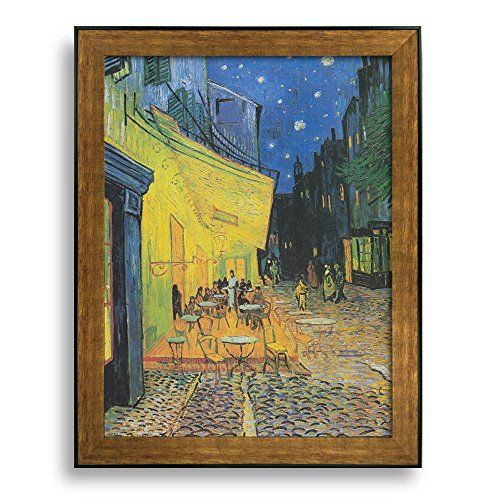 Framed Art Cafe Terrace at Night by Vincent Van Gogh Famous Painting Wall Decor Bronze and Black Frame
