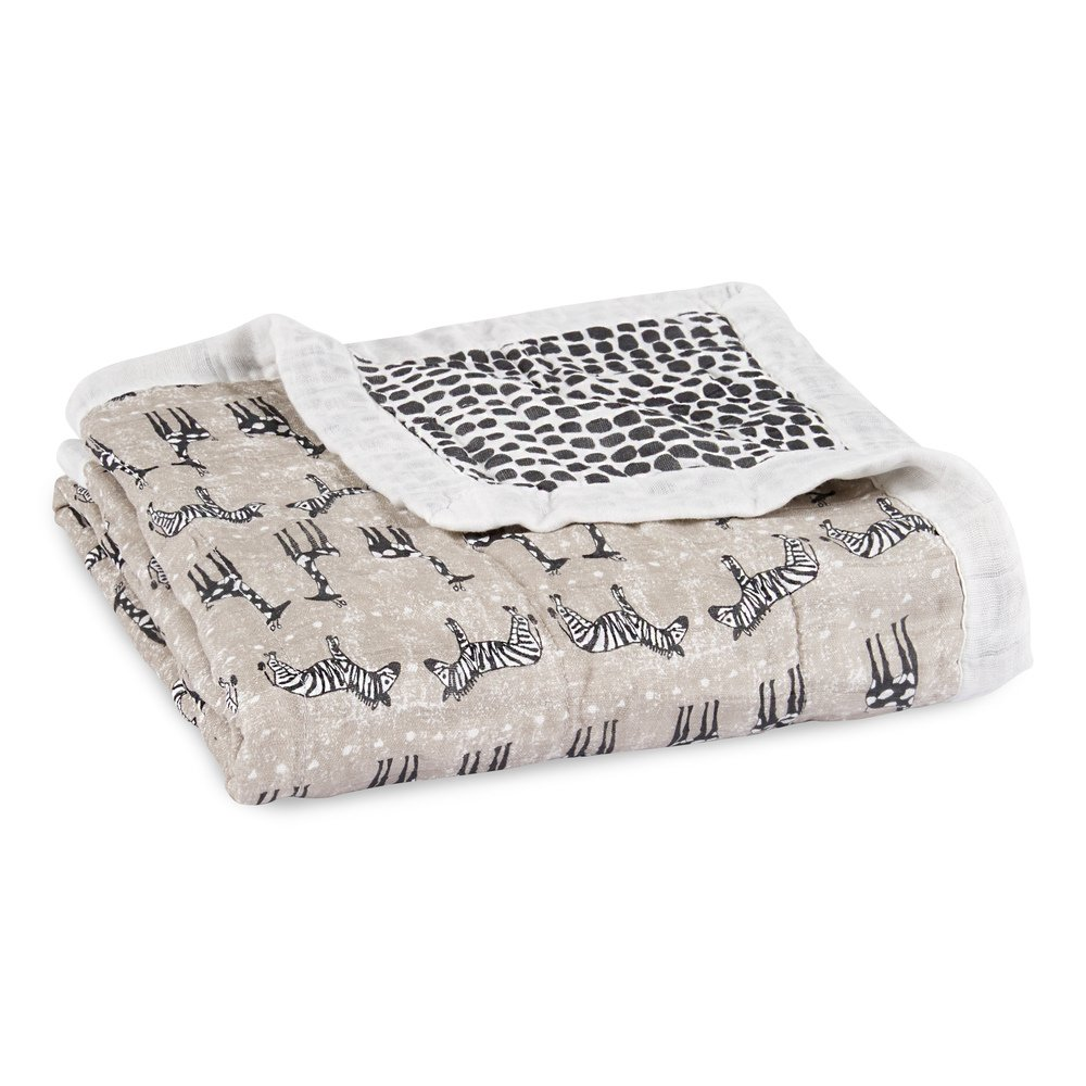 Aden + Anais Silky Soft Dream Blanket, 100% Viscose Bamboo Muslin, 4 Layer Lightweight and Breathable, 47 X 47 inch, Sahara Motif - Giraffe/Zebra
