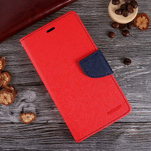 "iPhone X Hülle , ivencase Deluxe Magnet PU Leder Handytasche Karten-Slot Stand Flip Silikon Schutzhülle Case Cover für Apple iPhone X 5.8"" Rot"