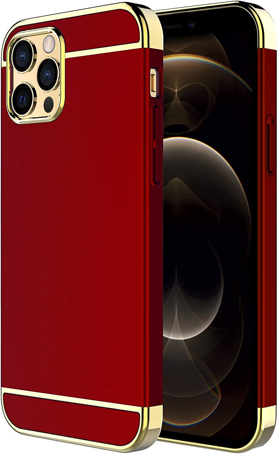 iPhone 12 Case,iPhone 12 Pro Case,RORSOU 3 in 1 Ultra Thin and Slim Hard Case Coated Non Slip Matte Surface with Electroplate Frame for Apple iPhone 12/12 Pro (6.1