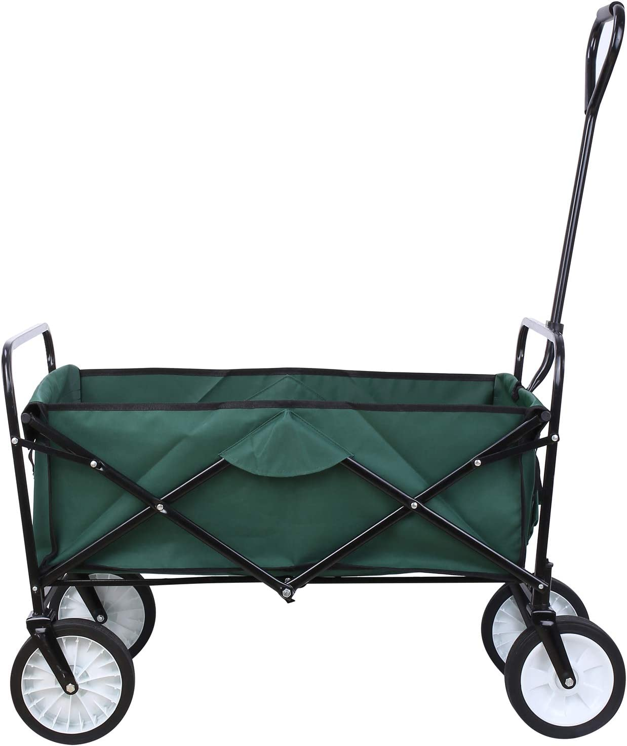 femor Collapsible Folding Outdoor Utility Wagon, Heavy Duty Garden Cart for Shopping Beach Outdoors Dark Green