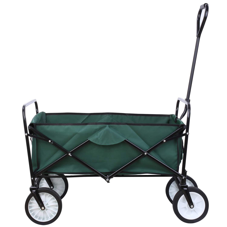 femor Collapsible Folding Outdoor Utility Wagon, Heavy Duty Garden Cart for Shopping Beach Outdoors (Dark Green) by femor