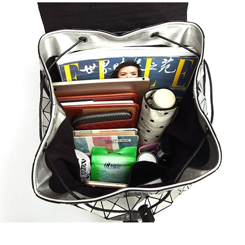 Amazon.com | Geometric Backpack Lingge Laser Backpacks Women Fashion Shoulder Bags Travel College Rucksack Silver | Casual Daypacks