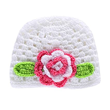 08bdab07482 Amazon.com  YeahiBaby Handmade Wool Knitted Hat Crochet Flower Cap Cute  Beanie Photo Props for Newborn Baby Infant (Deep Rosy Flower)  Toys   Games
